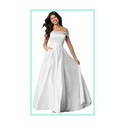 Lianai Women's Strapless Beaded Wedding Dress Off The Shoulder Satin Bridal Party Gown White,12並行輸入品