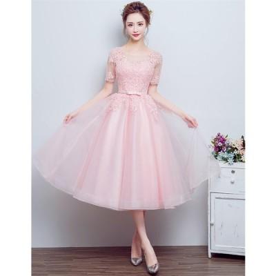 パーティードレス 結婚式 ドレス ショートドレス カラードレス ウェディングドレス 二次会ドレス 花嫁 ドレス ミニドレス 成人式 忘年会 披露宴ドレス[ピンク]