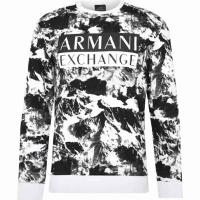アルマーニ Armani Exchange メンズ スウェット・トレーナー トップス Peak Crew Neck Sweater White/Blk