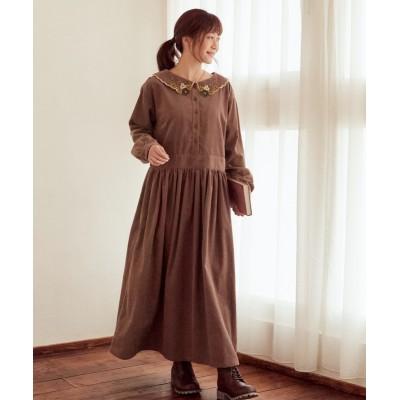 大きいサイズ 綿100%衿クローバー刺しゅうコーデュロイロングワンピース ,スマイルランド, ワンピース, plus size dress