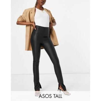 エイソス ASOS Tall レディース スキニー・スリム ボトムス・パンツ ASOS DESIGN Tall skinny trouser in leather look with split hem in black ブラック