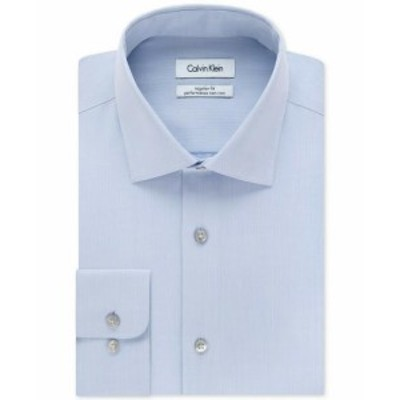 Calvin Klein カルバンクライン ファッション ドレス Calvin Klein NEW Blue Mens Size 17 1/2 Slim Fit Performance Dress Shirt