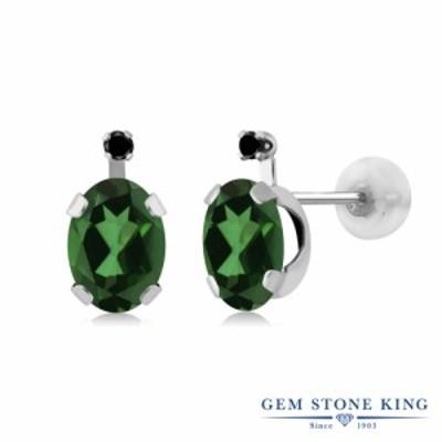 ピアス レディース 1.81カラット 天然石 ミスティックトパーズ (エメラルドグリーン) 天然ブラックダイヤモンド 14金 ホワイトゴールド(K