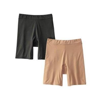 静電防止加工  もたつかない滑りが良い股ずれ防止3分丈ショーツ2枚組(LL) 3分丈・ロング丈ショーツ, Panties