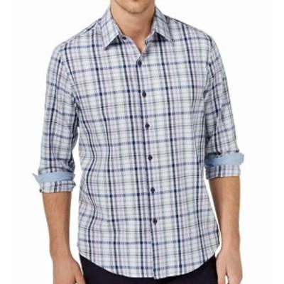 Plaid  ファッション アウター Tasso Elba NEW Blue Purple Mens Large L Plaid Print Button Down Shirt