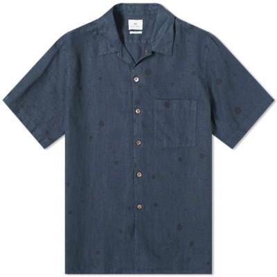 ポールスミス Paul Smith メンズ 半袖シャツ トップス Spot Linen Vacation Shirt Navy