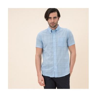 (AIGLE MEN/エーグル メンズ)吸水速乾 ダークチェック 半袖シャツ/メンズ ブルー