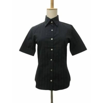 【中古】アルチザン ARTISAN シャツ スタンダード ストライプ 半袖 9 黒 ブラック レディース
