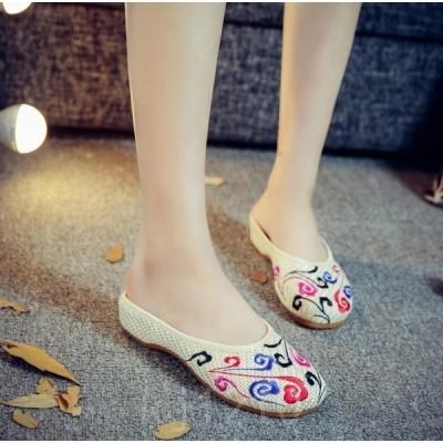 チャイナ靴レディースミュール刺繍コンフォートサンダル中華シューズ布靴ローヒール麻
