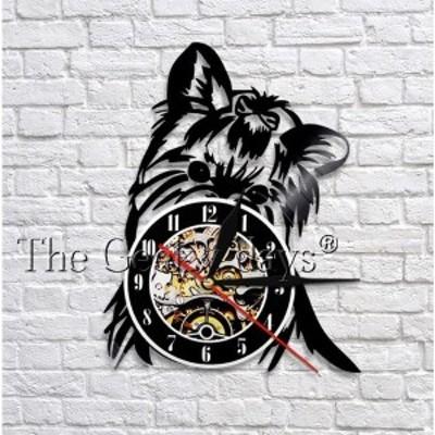 アナログ時計 壁掛け時計  インテリア雑貨 犬 レコード モダンデザイン