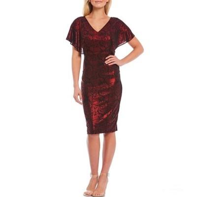 ケンジー レディース ワンピース トップス Flutter Sleeve Foiled Print Scuba Crepe Sheath Dress Black/Red