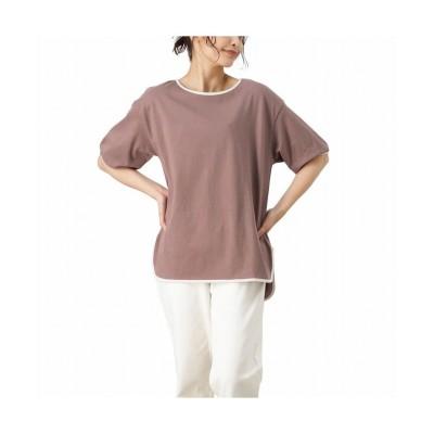 (MAC HOUSE(women)/マックハウス レディース)NAVY ネイビー パイピングラウンドTシャツ 115426921/レディース パープル