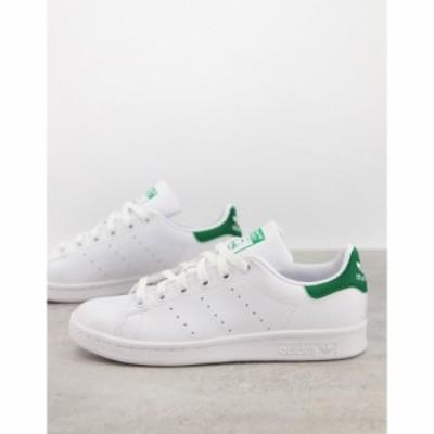 アディダス adidas Originals レディース スニーカー スタンスミス シューズ・靴 Primegreen Stan Smith trainers in white and green ホ