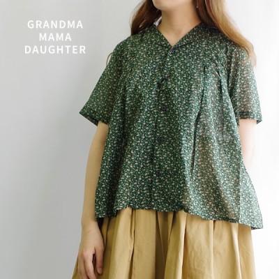 グランマ 小花柄タックオープンカラーシャツ チームキット