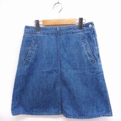 【中古】ビームスボーイ BEAMS BOY スカート デニム 台形 ジップ 綿 1 ブルー 青 /FT28 レディース