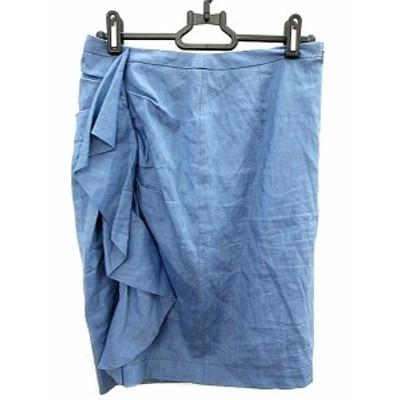 【中古】ラピスルーチェパービームス LAPIS LUCE PER BEAMS スカート タイト ひざ丈 麻 リネン 36 青 ブルー /AKK レディース