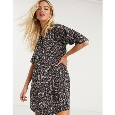 ノイジーメイ レディース ワンピース トップス Noisy May oversized shirt dress in ditsy floral print