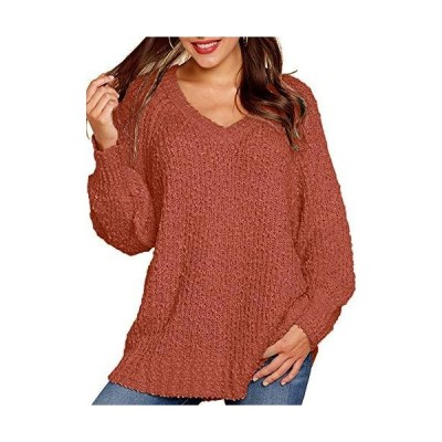 Soulomelody Womens Fuzzy Knitted Sweaters Popcorn Oversized V Neck Puff Lon