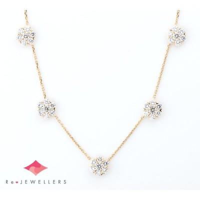 ヴァンクリーフ&アーペル フルーレット ラージモデル 5フラワー ダイヤモンド 18金イエローゴールド ネックレス【中古】