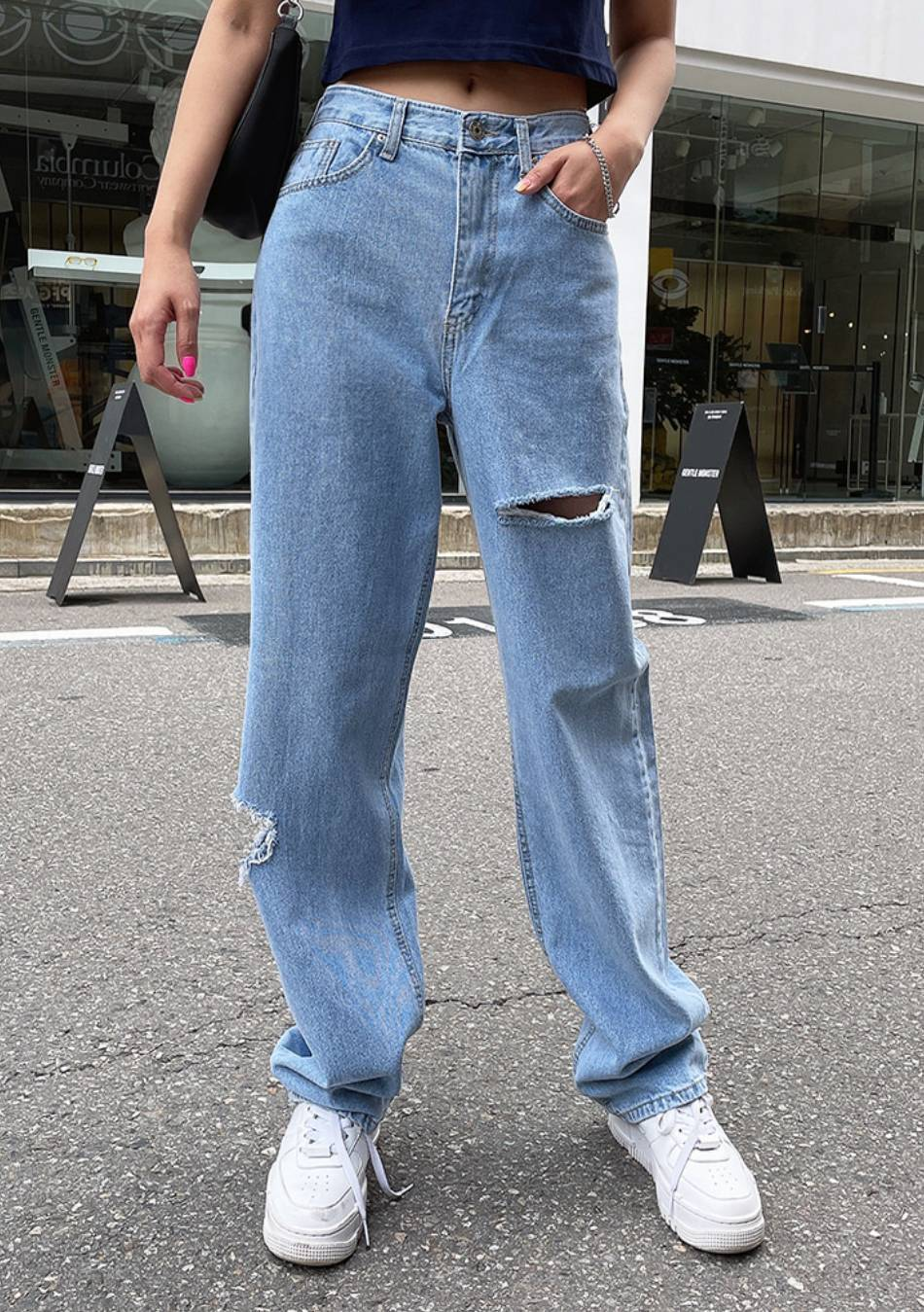 Pay Close Attention Distressed Denim Jeans