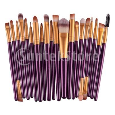 20個/セットプロフェッショナルメイクアップブラシセット美容化粧品ツールパープルゴールド