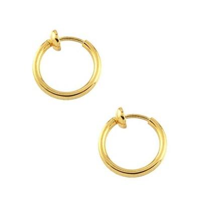 [ジュエリーショップエム] シンプルフープパイプイヤリング(S) e0090 12mmx1.5mm ゴールド