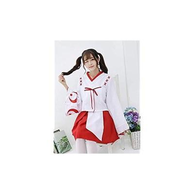 巫女 和服 コスプレ ハロウィン ミニ巫女 コスチューム お正月 節分 大人 白×赤 レディース (M)