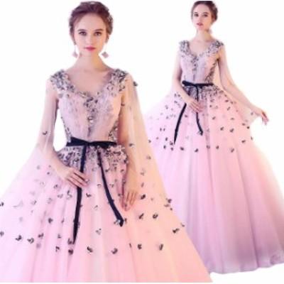 ウェディングドレス カラー ワンピース Vネック 結婚式パーディ- 花嫁 ドレス 編上げタイプ ロング
