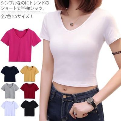 全7色×5サイズ!tシャツ レディース Vネック 半袖tシャツ Vネックtシャツ 半袖 カットソー トップス ショート丈 無地 タイト ダ