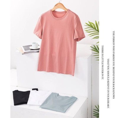 母の日 半袖Tシャツ レディース Tシャツ 無地 夏Tシャツ 2020 ゆったり カットソー 春 女性 カジュアルトップス サマーTシャツ シンプル カラバリ 30代 40代
