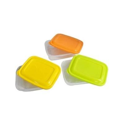 (まとめ)プラスチック 保存容器 カラフルライトパック 800ml 3個組 〔×3セット〕