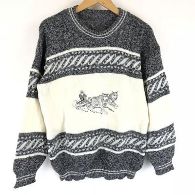 古着 エンブロイドセーター シベリアンハスキー 犬ぞり 切替えデザイン 刺繍 グレー系 メンズM n011098