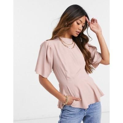 エイソス レディース シャツ トップス ASOS DESIGN short sleeve top with volume shoulder in blush Blush