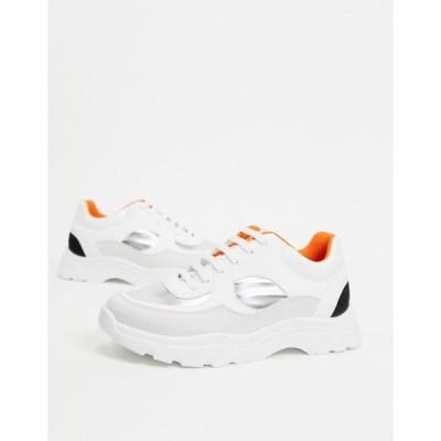 エイソス レディース スニーカー シューズ ASOS DESIGN Declare chunky sneakers in white silver and black