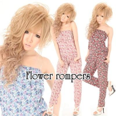 クリアストラップ付き花柄ベアオールインワン 花柄 フラワー柄 ベア ロンパース オールインワン