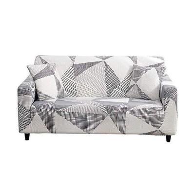 Hoobuy プリントソファカバー ストレッチソファカバー ソファカバー 3クッションソファ用 枕カバー2枚付き グレーとホワイト、3人掛け/Lサイズ