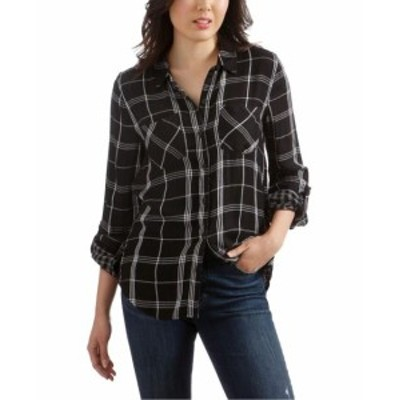 lucky ラッキー ファッション トップス Lucky Brand Womens Black Size XL Plaid Print Boyfriend Button Up Shirt