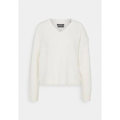 マルコポーロ ニット&セーター レディース アウター LONGSLEEVE V NECK CROPP - Jumper - natural white