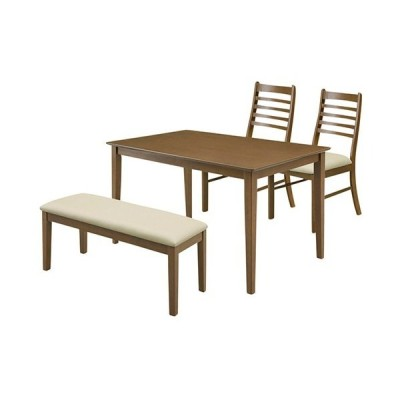 4人掛ダイニング4点セット ジャスト(幅120cmテーブル+チェア2脚+ベンチ)ダークブラウン