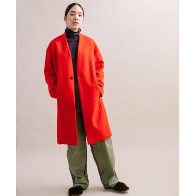 LANDWARDS / 【Liyoca】圧縮スムース ノーカラーロングコート WOMEN ジャケット/アウター > チェスターコート