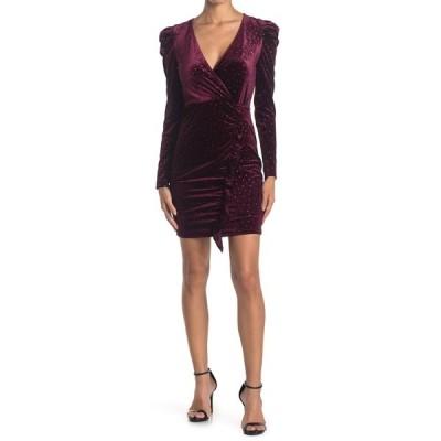 ラブニッキールー レディース ワンピース トップス Long Sleeve Glitter Dot Velour Dress BURGUNDY