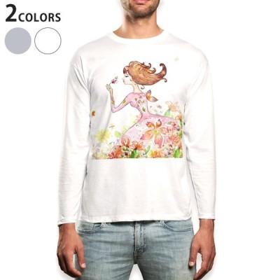 ロングTシャツ メンズ 長袖 ホワイト グレー XS S M L XL 2XL Tシャツ ティーシャツ T shirt long sleeve  イラスト 花 フラワー 005773