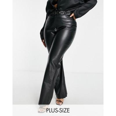 セイントジーニーズ Saint Genies Plus レディース ボトムス・パンツ Pu Kick Flare Trouser In Black ブラック
