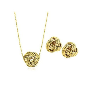 特別価格Ross-Simons Italian 14kt Yellow Gold Love Knot Jewelry Set: Necklace and St好評販売中