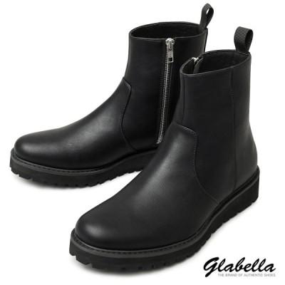 ショートブーツ タンクソール サイドジップ ドレスブーツ ミドルブーツ ブーツ レザーブーツシューズ 靴 メンズ(ブラック黒) glbb177