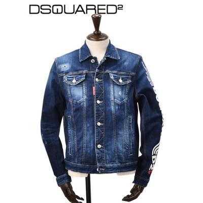 ディースクエアード DSQUARED2ディースクエアード メンズデニムジャケット  D2ラインロゴプリント ダメージ イタリア製 ブルー ブランド  国内正規品