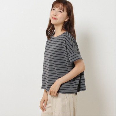 綿混素材のボーダーBIGTシャツ