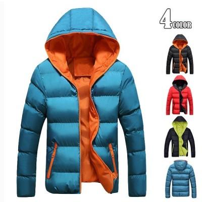 中綿ジャケット メンズ ジップアップ ジャケット ダウンジャケット 厚手中綿コート ブルゾン アウター フード付き 登山 冬