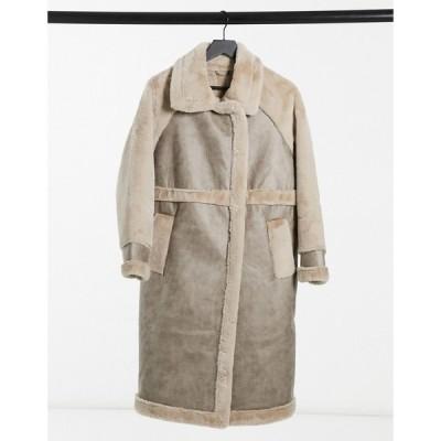 ヴィラ Vila レディース コート ファーコート ロングコート アウター longline faux fur coat with panelled detail in beige ベージュ