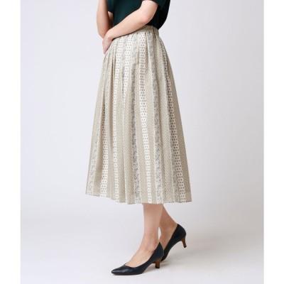 ニューヨーカー NEWYORKER 小紋柄ストライププリント タックギャザースカート (ベージュ)